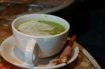 Puddle Pea Soup & Smoky Pancetta Wrapped Bread Sticks