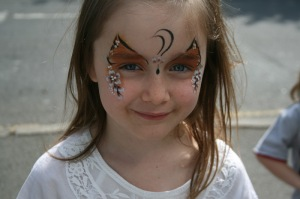 Face Painting at Milly Mog. Modelled by Phoebe.