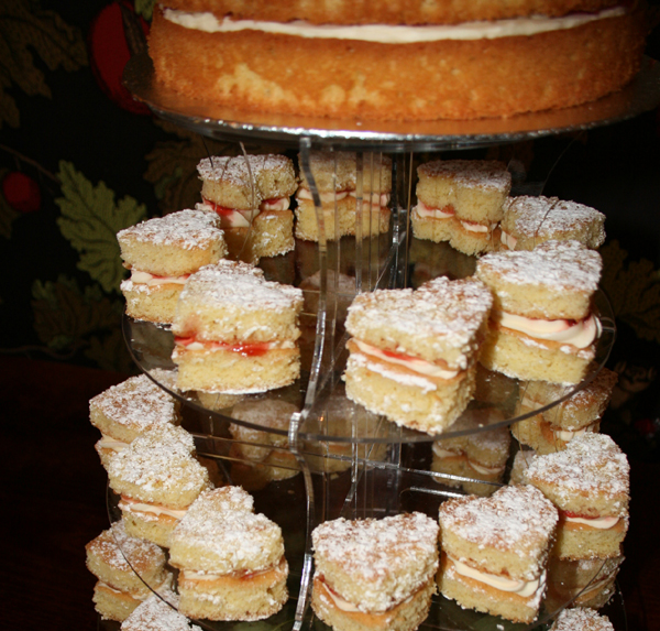 Victoria Sponge Deluxe Wedding Cake & Mini Viccie Sponge Hearts from And The Dish Ran away With The Spoon