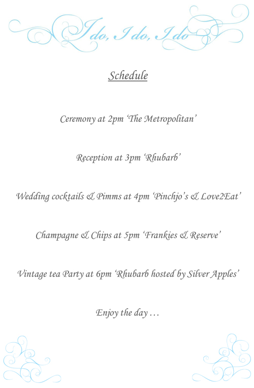 West Didsbury Secret Wedding Schedule