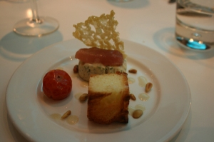 Goats cheese parfait with pickled pear & brioche crouton (& I think a delicious parmesan crisp...)