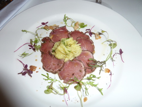 Wild Boar Carpaccio - The Rose Garden - image courtesy of Deanna Thomas
