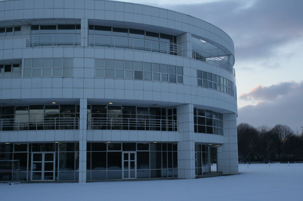 The Siemens Building in the snow...