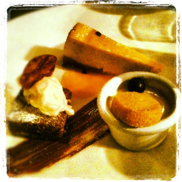 Dessert trio - vanilla and passion fruit cheesecake, lemon posset with orange blossom biscuit, chocolate fudge brownie.